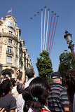 People watched as planes flew overhead during the Bastille Day parade in Paris.