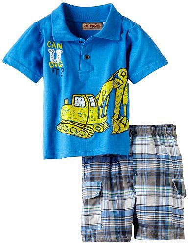 Kids Headquarters Boys 2-7 Polo Top With Plaided Cargo Shorts
