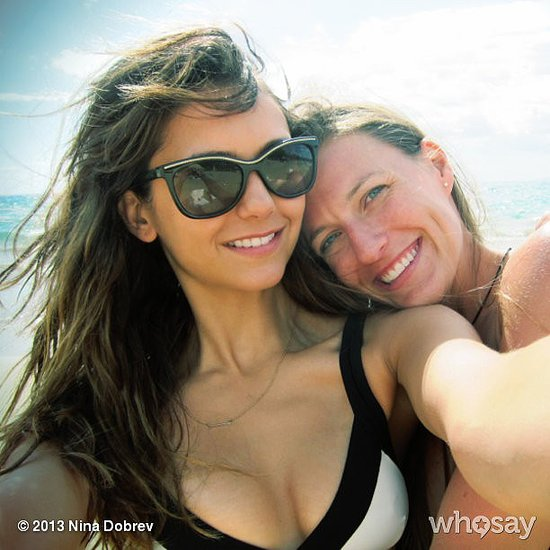 Nina Dobrev smiled with her friend and soaked up the sun. Source: Nina Dobrev on WhoSay
