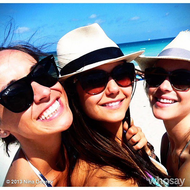 Nina Dobrev was not lacking in the hats and shades department.  Source: Nina Dobrev on WhoSay