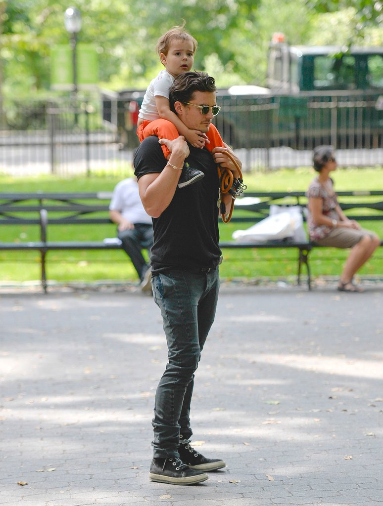 Orlando carried Flynn on his shoulders in Central Park, NYC, in July 2013.