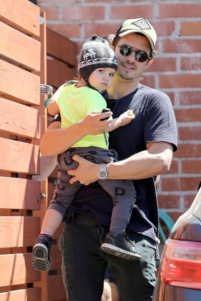 Orlando took Flynn to kids' gym Romp in LA in April 2013.