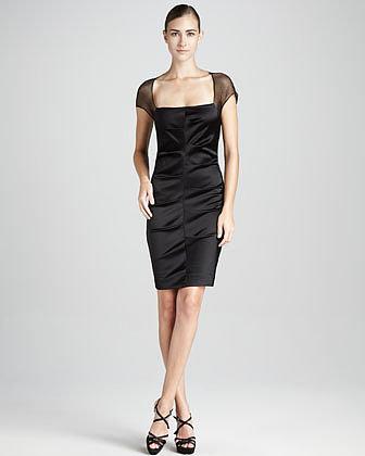 Nicole Miller Gathered Cap-Sleeve Cocktail Dress