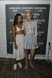 Hannah Bronfman and Jessica Stam arrived for Samsung's Summer DJ series at Montauk's Surf Lodge.