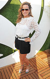 In Hyde Park, Jade Jagger unwound in the Barclaycard VIP lounge in a lacy top and floral sandals.