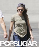Kristen Stewart smiled while grabbing lunch in LA.