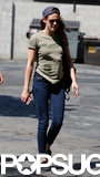 Kristen Stewart wore jeans and a green t-shirt.