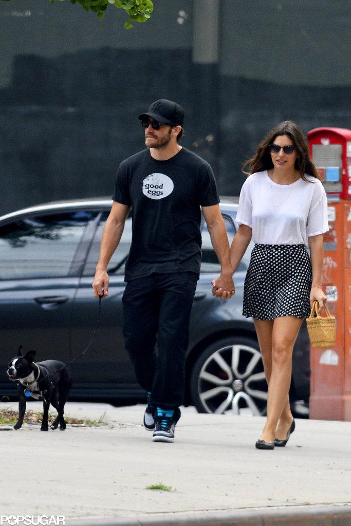 Jake Gyllenhaal and Alyssa Miller walked her dog Charlie.