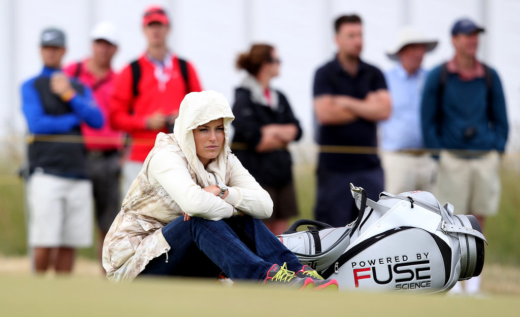 Olympic skier Lindsey Vonn attended a practice round for the 142nd British Open Championship in support of her boyfriend, Tiger Woods.