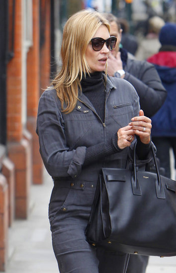 The classic bag also proved to be a solid match for a denim jumpsuit Kate picked for a stroll around London. Photo courtesy of Saint Laurent