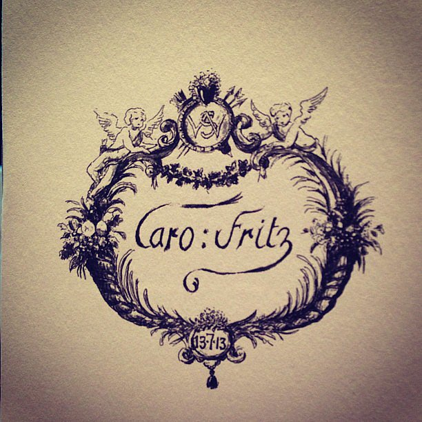 An opulent crest served as the couple's monogram throughout the weekend. Source: Instagram user sophiahesketh