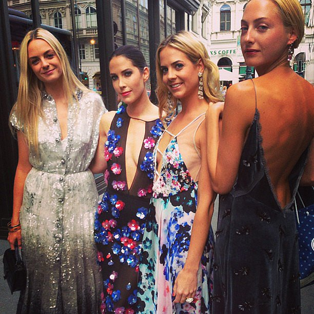 The Courtin-Clarins girls got in on the festivities in decadent, draped gowns. Source: Instagram user priscourtin