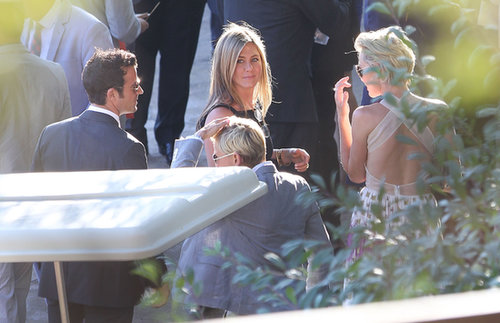 Jennifer Aniston and Justin Theroux dropped by Jimmy Kimmel's wedding in July 2013.