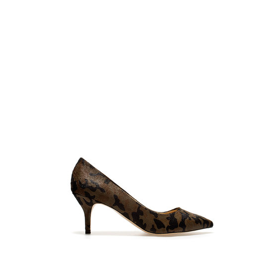 Zara's leather court shoe ($50, originally $90) is one of the chicest takes on camo — that's also office-appropriate.
