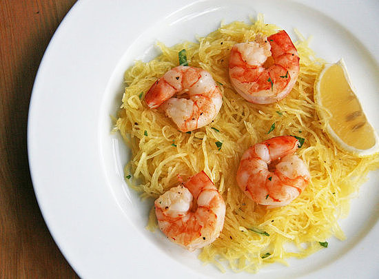 Seafood: Roasted Shrimp Over Spaghetti Squash