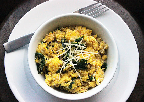 Eggs: Quinoa and Spinach Scramble