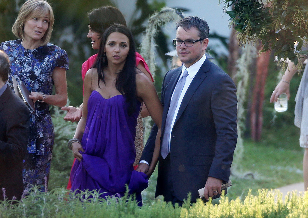 Luciana and Matt Damon held hands at the nuptials.