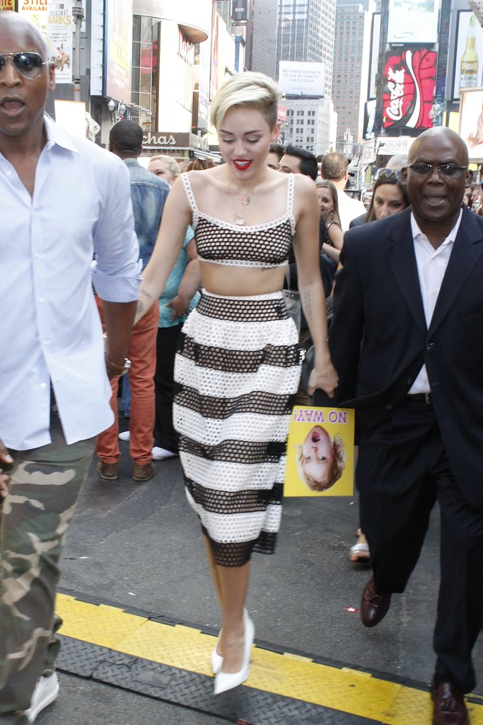 Miley showed skin during her appearance on Good Morning America in July 2013.