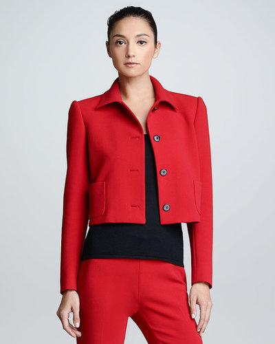 Ralph Lauren Black Label Cropped Wool Jacket, Rouge