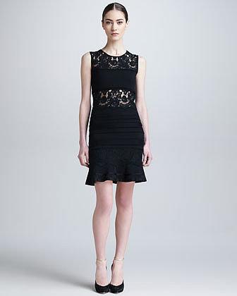 Roberto Cavalli Lace-Panel Dress with Flounce