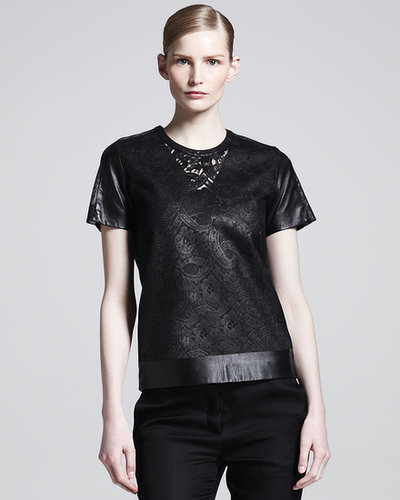 Reed Krakoff Lace & Leather T-Shirt
