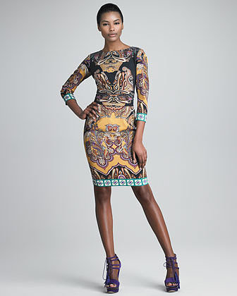 Etro Three-Quarter-Sleeve Boat-Neck Dress