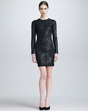 Roberto Cavalli Embossed Leather Open-Back Dress, Black