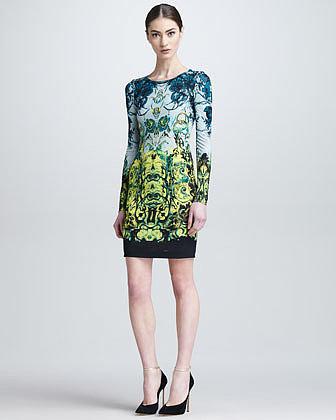 Roberto Cavalli Long-Sleeve Baroque-Print Short Dress