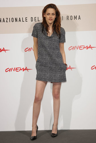 In 2008, Stewart chose a chic tweed mini for the Twilight photocall at the Rome International Film Festival.