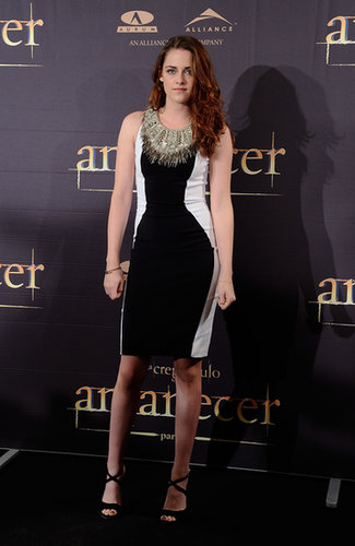 For a Madrid photocall for Breaking Dawn Part 2, Stewart adorned her body-con Julien Macdonald sheath with an elaborate beaded neckline.