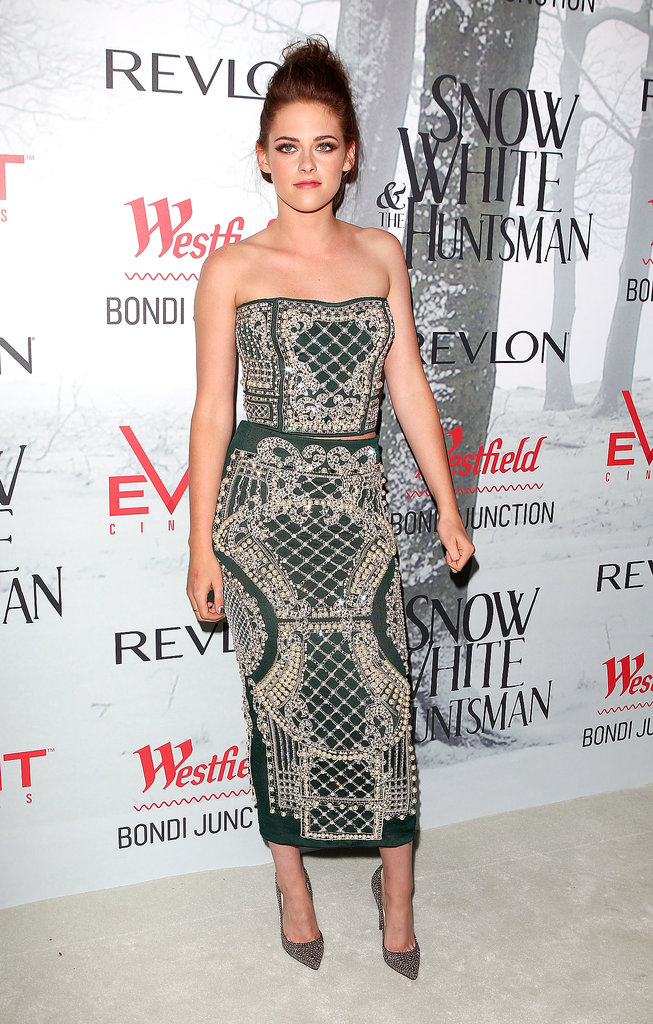 Stewart looked phenomenal in an embroidered Balmain two-piece ensemble and gold Christian Louboutin pumps at the Snow White and the Huntsman Sydney premiere in June 2012.