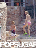 Gwyneth Paltrow and her son, Moses, hung out at their Spanish home.