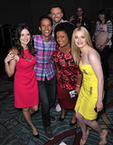 The cast of Community — Joel McHale, Alison Brie, Danny Pudi, Yvette Nicole Brown, and Gillian Jacobs — posed for a friendly photo at the show's panel in 2012.