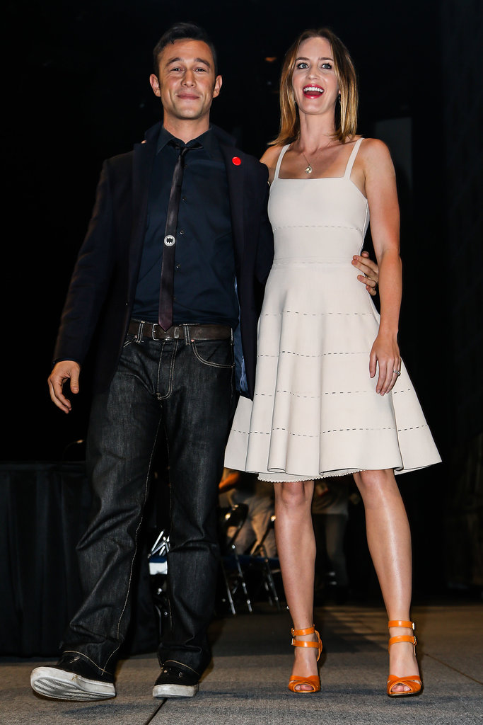 Looper stars Joseph Gordon-Levitt and Emily Blunt were all smiles during the film's event in 2012.