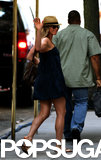 Jennifer Aniston waved to onlookers on July 16.