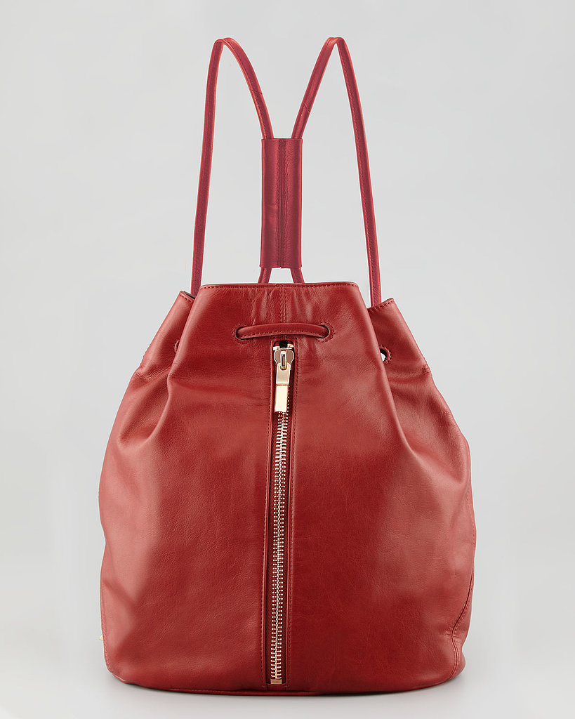 A cousin to the classic bucket bag, this drawstring option ($445) is ready to be styled as a backpack or over the shoulder.