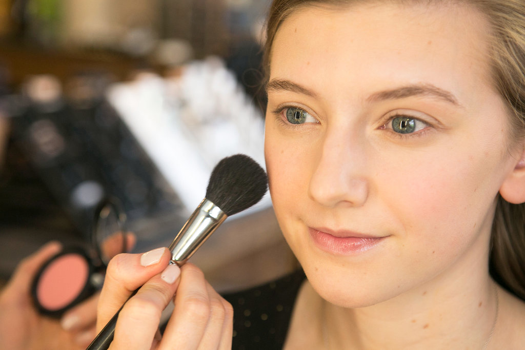 Next, Bettelli used Pro Longwear Blush in Rosy Outlook ($26) on the apples of the cheeks for a soft flush of color.