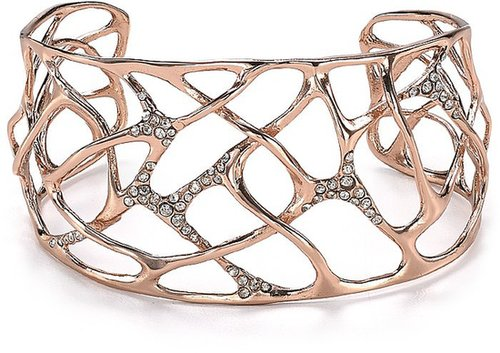 Alexis Bittar Liquid Rose Gold Collection Small Pave Interlaced Cuff