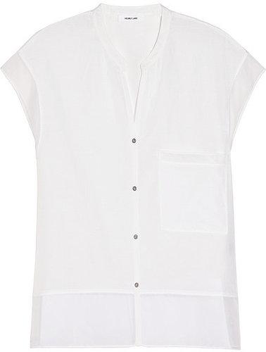 Helmut Lang Chiffon-trimmed silk and cotton-blend shirt