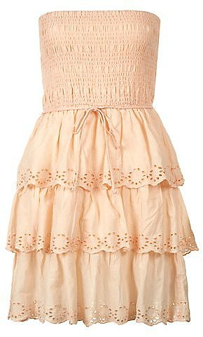Shell Pink Cut Out Bandeau Tier Dress