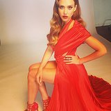 Jessica Alba got glammed up in a red dress for a recent photo shoot. Source: Instagram user jessicaalba