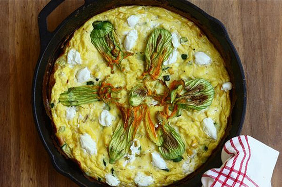 Squash Blossom and Goat Cheese Frittata
