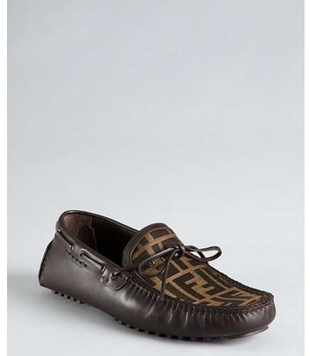 Fendi tobacco leather and zucca spalmati bow detail loafers