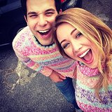 Hilary Duff and Skylar Astin sported matching sweaters on the set of Flock of Dudes. Source: Instagram user hilaryduff