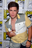 Adam Devine had a nip-slip at the Workaholics press line.