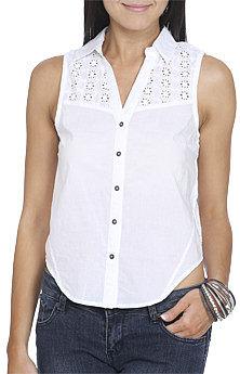 WetSeal Cotton Eyelet Back Shirt White