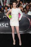 Stewart wore a crisp white asymmetrical Elie Saab mini for the LA premiere of Eclipse in June 2010.