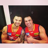 Australian Idol alums Guy Sebastian and Shannon Noll reunited for a friendly kick. Source: Instagram user guysebastian