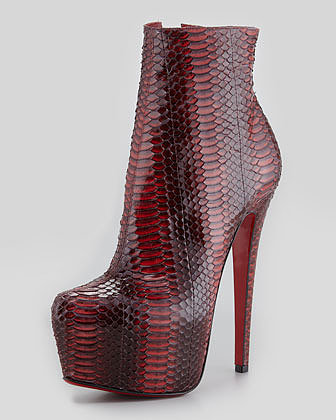 Christian Louboutin Daf Watersnake Red Sole Platform Bootie, Rouge