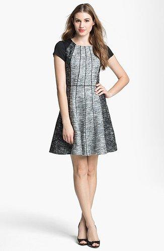 Jessica Simpson Textured Cap Sleeve Tweed Fit & Flare Dress | Nordstrom